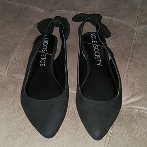 """Sole Society """"Morganne"""" black suede flats with bow"""